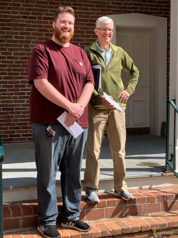 Math Department Fellowship recipient, Shane Clark with DGS Peter Hislop