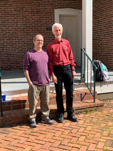 Dr. Ben Braun received the A&S Outstanding Teaching Award, pictured with Math Chair, Uwe Nagel